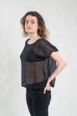 Tee-shirt Mari resille de lin presque noir