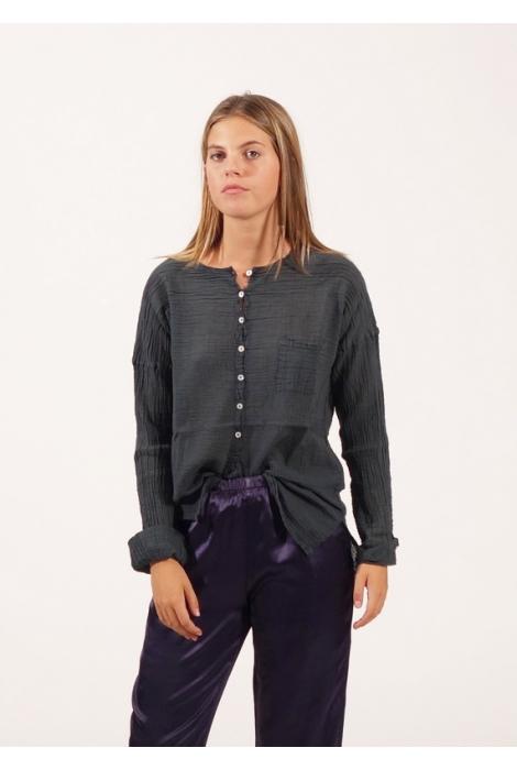 Blouse Anastasia Gaze de Coton Presque Noir
