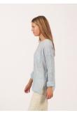 Blouse Anastasia Gaze de Coton Bleu Ciel