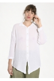 Blouse Loose Gaze de Coton Blanc
